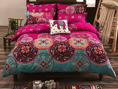 India inspired comforter set in blue and red
