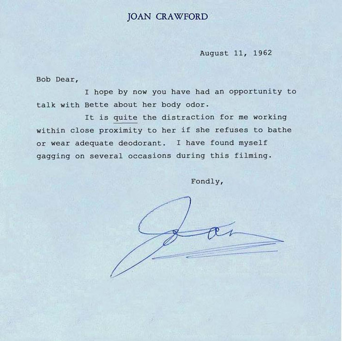 Joan Crawford fake letter about Bette Davis